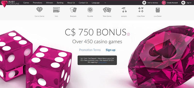 Get Bonus at Ruby Fortune
