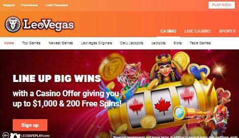 Leo Vegas First Screen