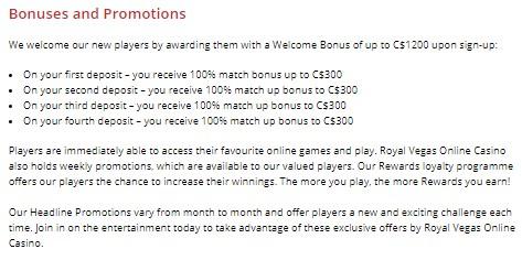 Royal Vegas Bonuses